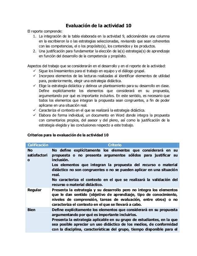 Evaluación de la actividad 10 El reporte comprende: 1. La integración de la tabla elaborada en la actividad 9, adicionándo...