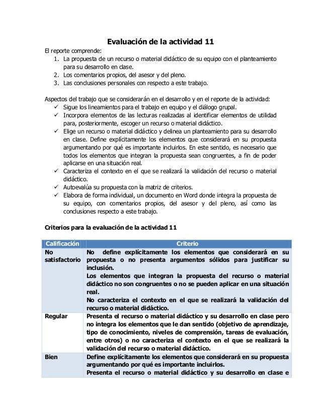 Evaluación de la actividad 11 El reporte comprende: 1. La propuesta de un recurso o material didáctico de su equipo con el...