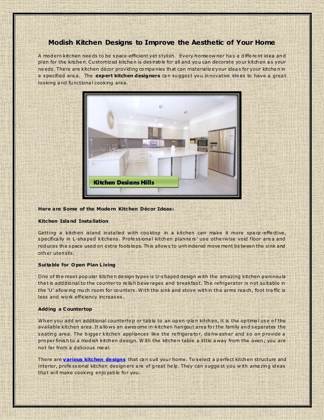 Modish Kitchen Designs To Improve The Aesthetic Of Your Home