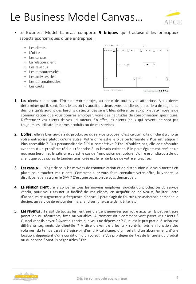 Le Business Model Canvas… • Le Business Model Canevas comporte 9 briques qui traduisent les principaux aspects économiques...