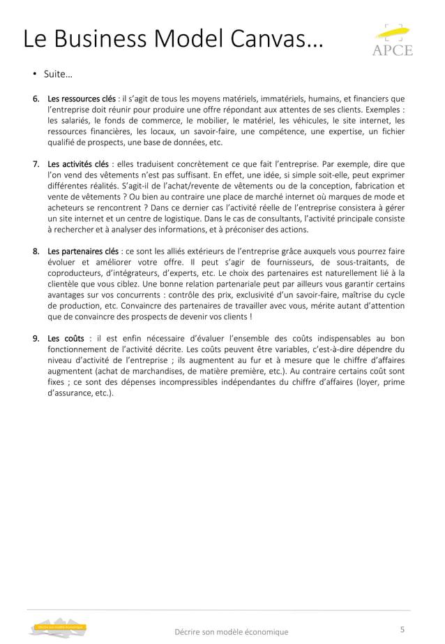 Le Business Model Canvas… • Suite… 6. Les ressources clés : il s'agit de tous les moyens matériels, immatériels, humains, ...