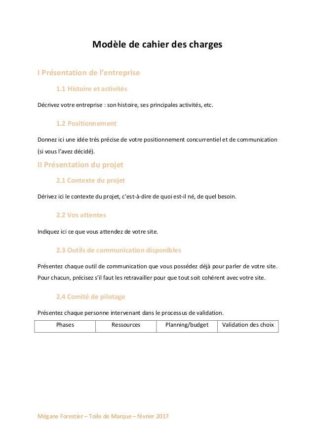 Modele De Cahier Des Charges Web