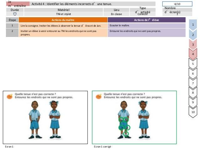 Jem'entraîneDurée LieuTyped'activitéMatérielNombred'écran(s)Activité 4 : Identifier les éléments incorrects d'une tenue.TN...