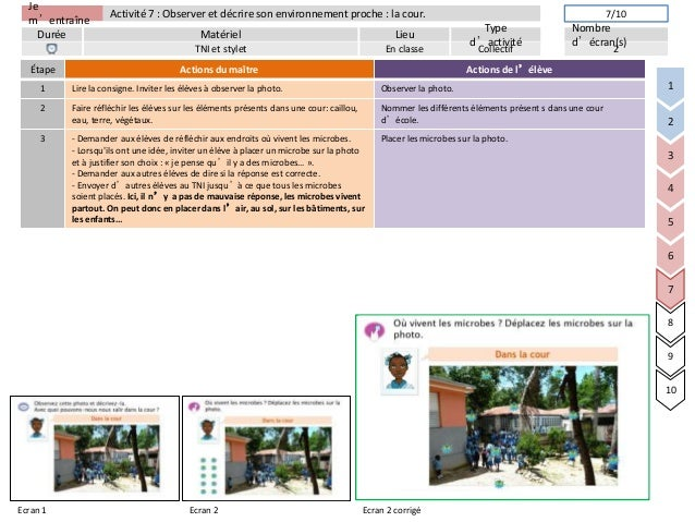 Jem'entraîneDurée LieuTyped'activitéMatérielNombred'écran(s)Activité 7 : Observer et décrire son environnement proche : la...