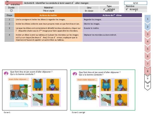 Jem'entraîneDurée LieuTyped'activitéMatérielNombred'écran(s)Activité 8 : Identifier la conduite à tenir avant d'aller mang...