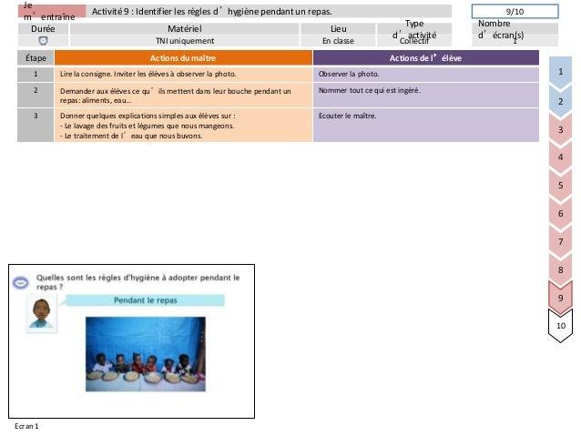 Jem'entraîneDurée LieuTyped'activitéMatérielNombred'écran(s)Activité 9 : Identifier les règles d'hygiène pendant un repas....