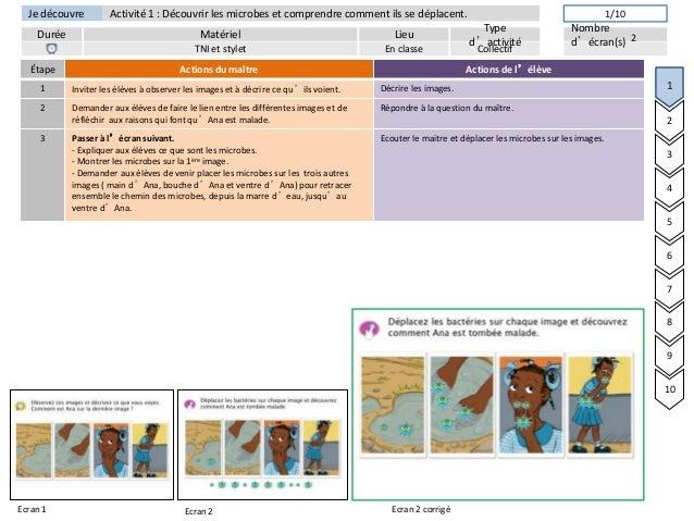 Je découvreDurée LieuTyped'activitéMatérielNombred'écran(s)Activité 1 : Découvrir les microbes et comprendre comment ils s...