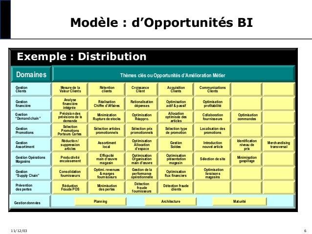 Modèle : d'Opportunités BI Exemple : Distribution Domaines  Thèmes clés ou Opportunités d'Amélioration Métier Mesure de la...