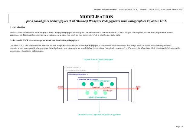 Modélisation pédagogique d'outils TICE