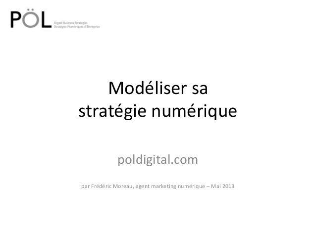 Modéliser sastratégie numériquepoldigital.compar Frédéric Moreau, agent marketing numérique – Mai 2013