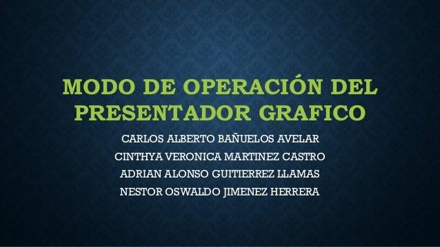 MODO DE OPERACIÓN DEL PRESENTADOR GRAFICO CARLOS ALBERTO BAÑUELOS AVELAR CINTHYA VERONICA MARTINEZ CASTRO ADRIAN ALONSO GU...