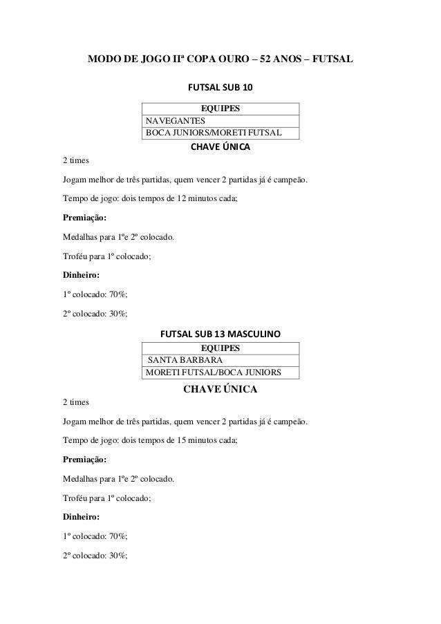 MODO DE JOGO IIª COPA OURO – 52 ANOS – FUTSAL FUTSAL SUB 10 CHAVE ÚNICA 2 times Jogam melhor de três partidas, quem vencer...