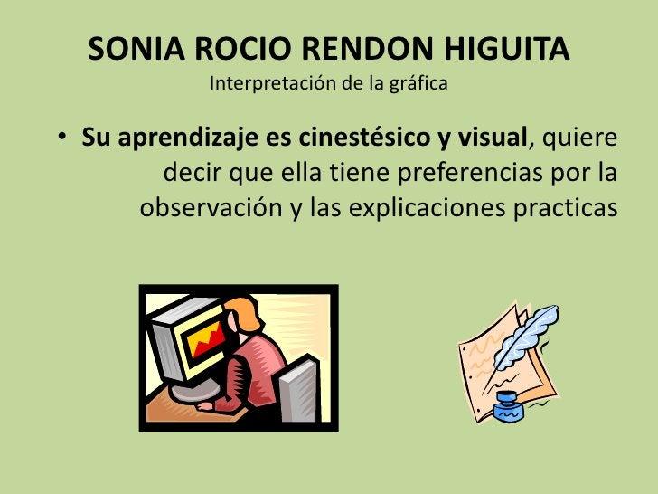 SONIA ROCIO RENDON HIGUITAInterpretación de la gráfica<br />Su aprendizaje es cinestésico y visual, quiere decir que ella ...