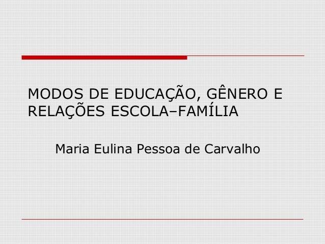 MODOS DE EDUCAÇÃO, GÊNERO ERELAÇÕES ESCOLA–FAMÍLIA  Maria Eulina Pessoa de Carvalho