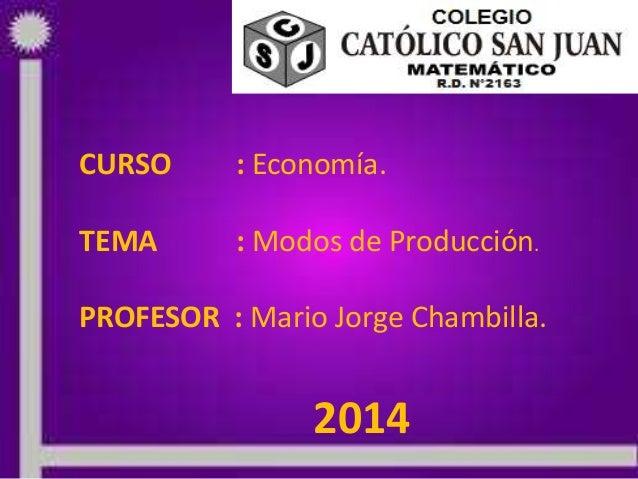 CURSO : Economía. TEMA : Modos de Producción. PROFESOR : Mario Jorge Chambilla. 2014