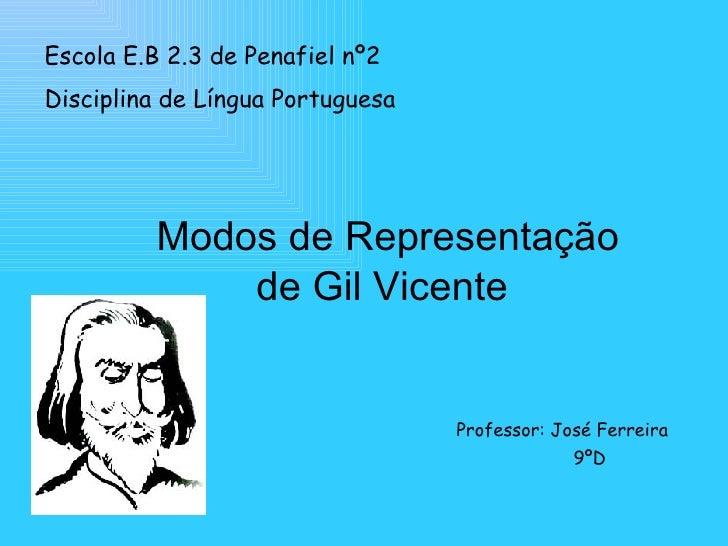 Escola E.B 2.3 de Penafiel nº2 Disciplina de Língua Portuguesa   <ul><li>Modos de Representação  </li></ul><ul><li>de Gil ...