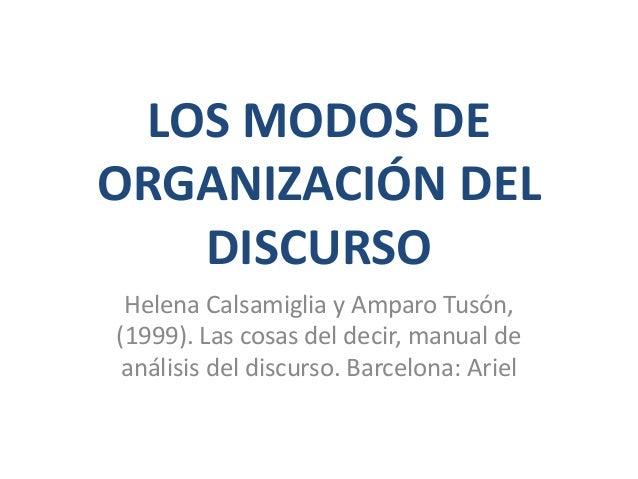 LOS MODOS DE ORGANIZACIÓN DEL DISCURSO Helena Calsamiglia y Amparo Tusón, (1999). Las cosas del decir, manual de análisis ...