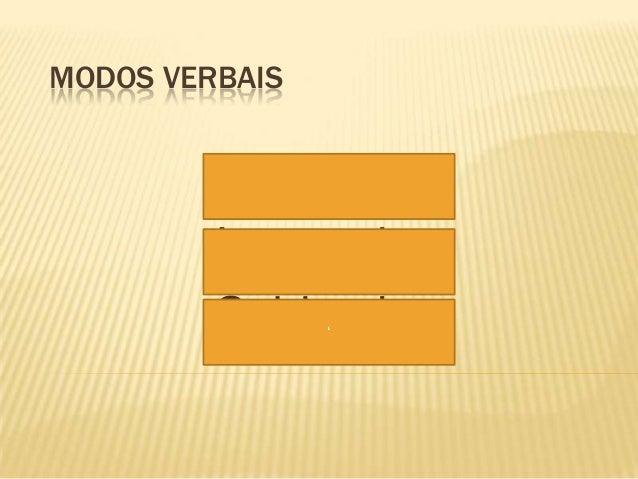MODOS VERBAIS          Indicativo         Imperativo         Subjuntivo                '
