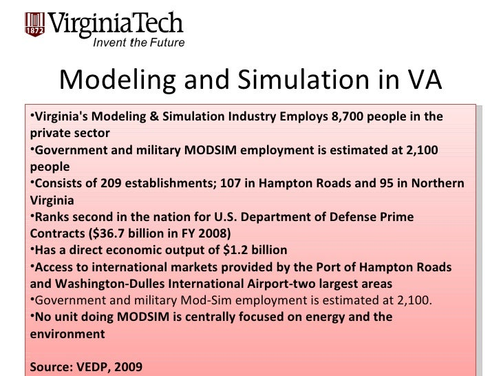 Modeling and Simulation in VA <ul><li>Virginia's Modeling & Simulation Industry Employs 8,700 people in the private sector...