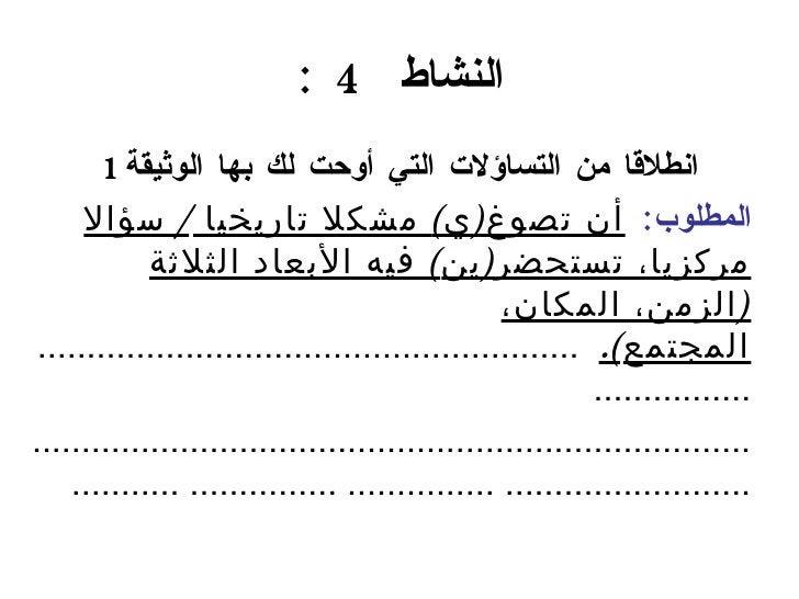 النشاط  4  : <ul><ul><ul><ul><li>انطلاقا من التساؤلات التي أوحت لك بها الوثيقة 1 </li></ul></ul></ul></ul><ul><li>المطلوب ...