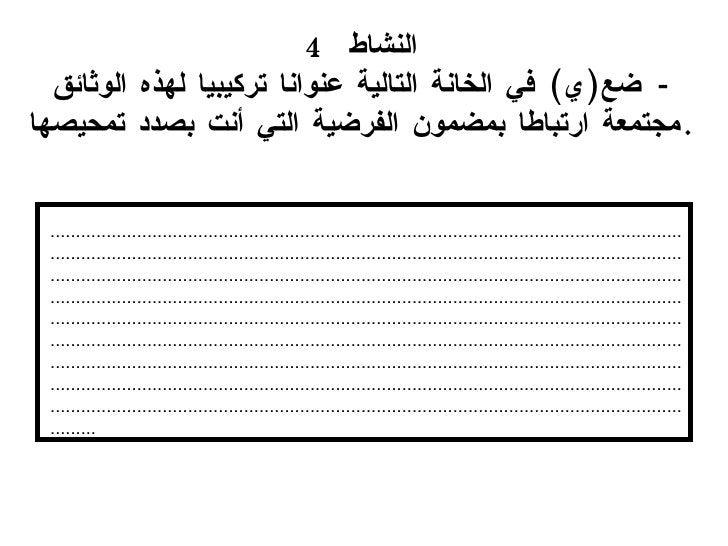 النشاط  4 -   ضع ( ي )  في الخانة التالية  عنوانا تركيبيا لهذه الوثائق مجتمعة ارتباطا بمضمون الفرضية التي  أنت  بصدد تمحيص...