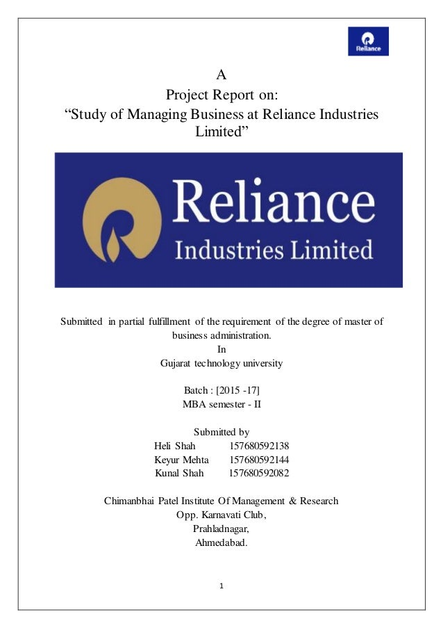 study of managing business at reliance industries limited u201d