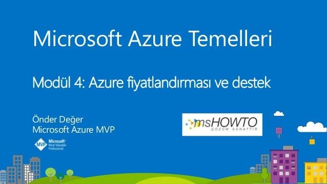 Microsoft Azure Temelleri Modül 4: Azure fiyatlandırması ve destek Önder Değer Microsoft Azure MVP