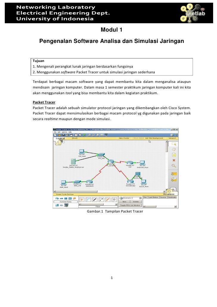 Modul 1    Pengenalan Software Analisa dan Simulasi Jaringan   Tujuan 1. Mengenali perangkat lunak jaringan berdasarkan fu...