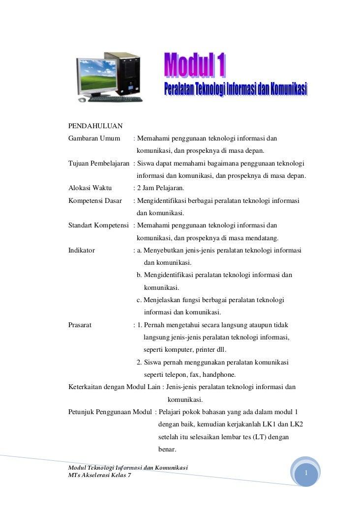 PENDAHULUANGambaran Umum        : Memahami penggunaan teknologi informasi dan                       komunikasi, dan prospe...