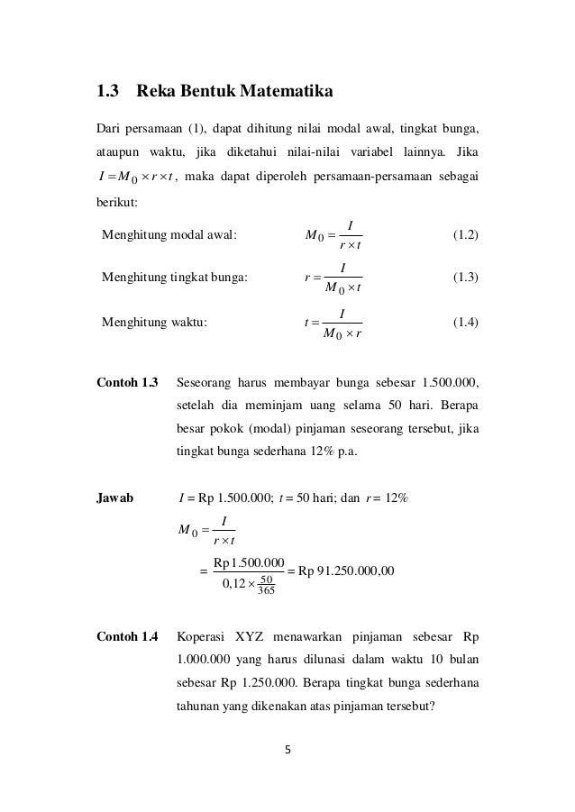 Bunga Sederhana Dan Tingkat Diskon Matematika Keuangan