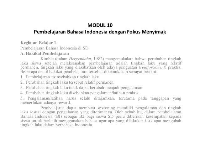 Pembelajaran Bahasa Indonesia Dengan Fokus Menyimak