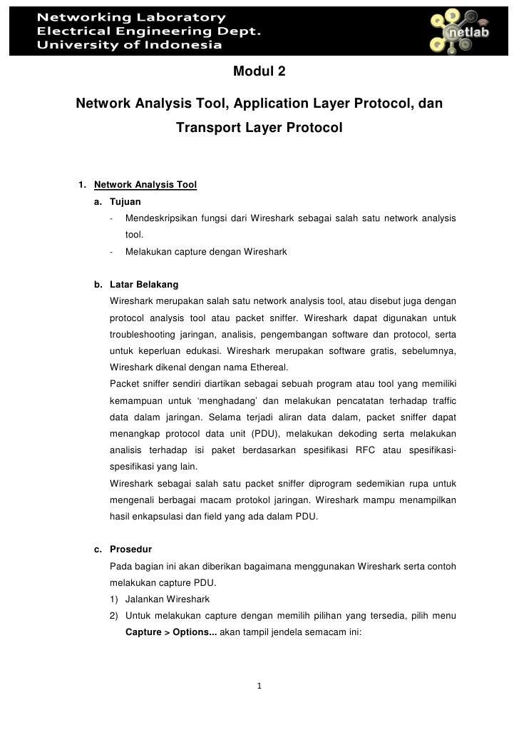 Modul 2  Network Analysis Tool, Application Layer Protocol, dan                       Transport Layer Protocol   1. Networ...