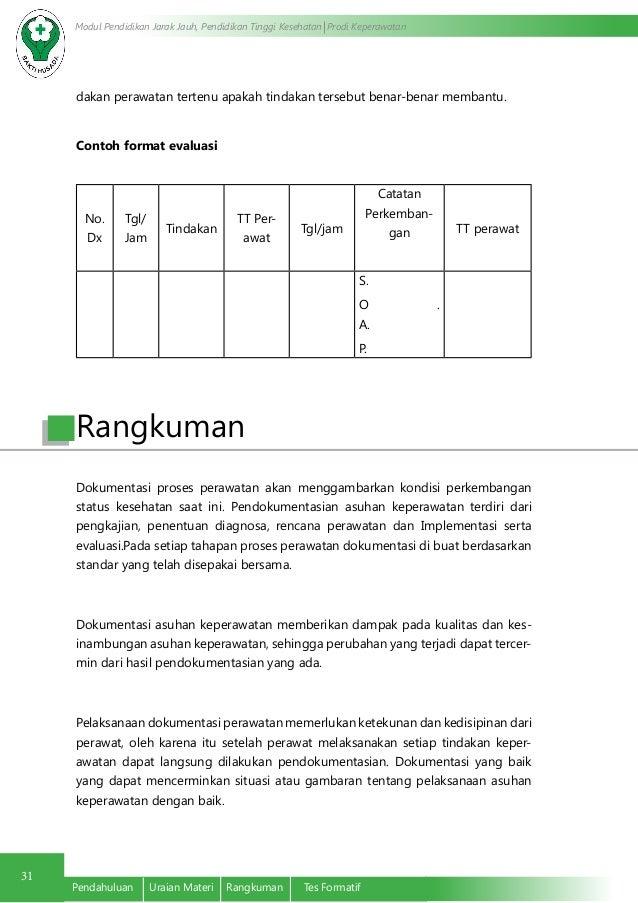Format Evaluasi Asuhan Keperawatan Dokumentasi Asuhan