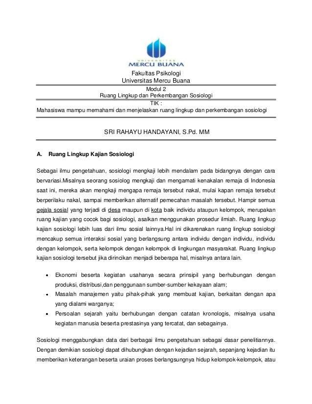 Fakultas Psikologi                                   Universitas Mercu Buana                                    Modul 2   ...
