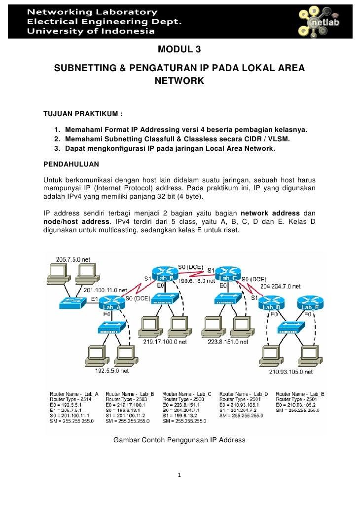 MODUL 3    SUBNETTING & PENGATURAN IP PADA LOKAL AREA                     NETWORK   TUJUAN PRAKTIKUM :     1. Memahami For...