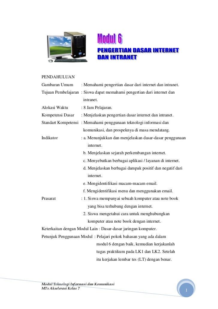 PENDAHULUANGambaran Umum        : Memahami pengertian dasar dari internet dan intranet.Tujuan Pembelajaran : Siswa dapat m...