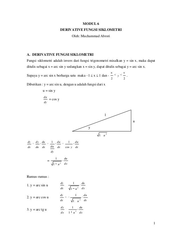 MODUL 6                                       DERIVATIVE FUNGSI SIKLOMETRI                                                ...