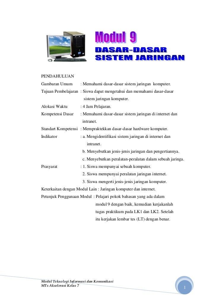 PENDAHULUANGambaran Umum        : Memahami dasar-dasar sistem jaringan komputer.Tujuan Pembelajaran : Siswa dapat mengetah...