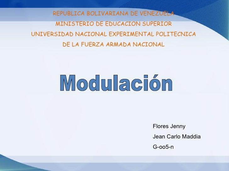 REPUBLICA BOLIVARIANA DE VENEZUELA MINISTERIO DE EDUCACION SUPERIOR UNIVERSIDAD NACIONAL EXPERIMENTAL POLITECNICA DE LA FU...