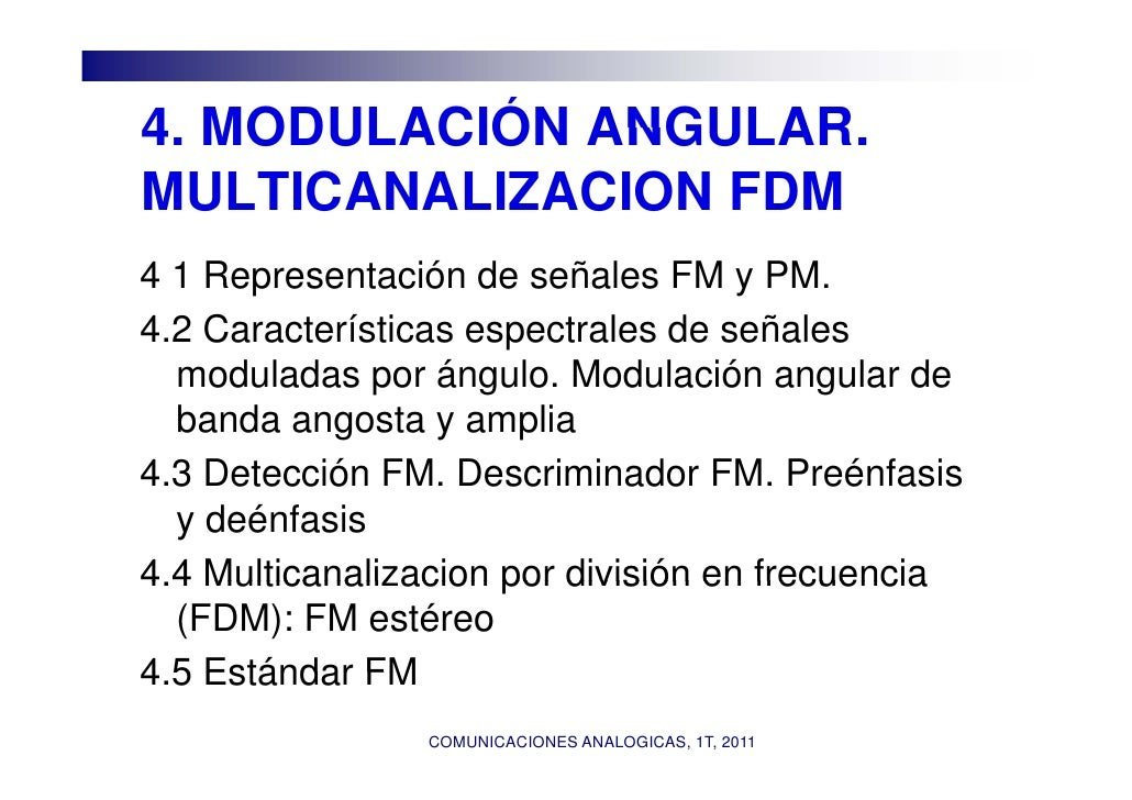 4.4 MODULACIÓN ANGULAR             ANGULAR.MULTICANALIZACION FDM4 1 Representación de señales FM y PM.4.2 Características ...