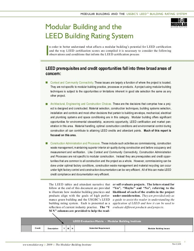 Modular construction leed for Advantages of leed certification