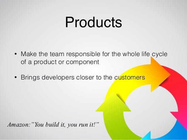 Products  • Make the team responsible for the whole life cycle  of a product or component  • Brings developers closer to t...