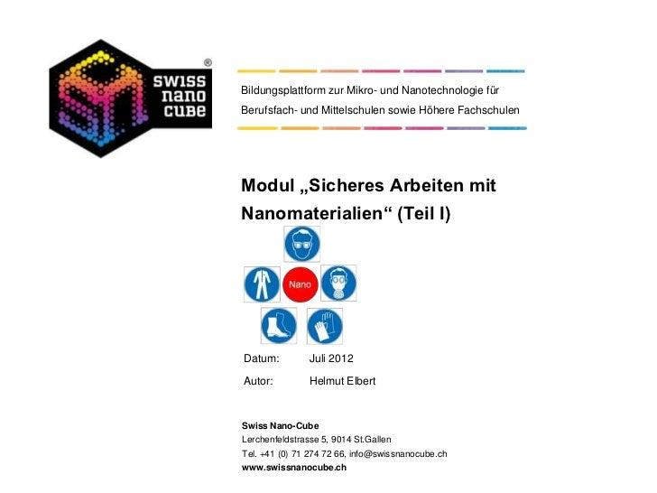 """Bildungsplattform zur Mikro- und Nanotechnologie fürBerufsfach- und Mittelschulen sowie Höhere FachschulenModul """"Sicheres ..."""