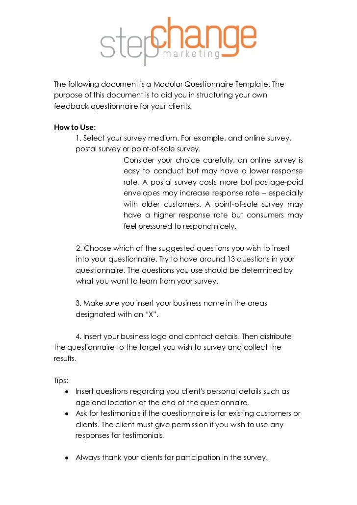 Modular questionnaire template the following document is a modular questionnaire template thepurpose of this document is to aid sample research questionnaire for business cheaphphosting Gallery