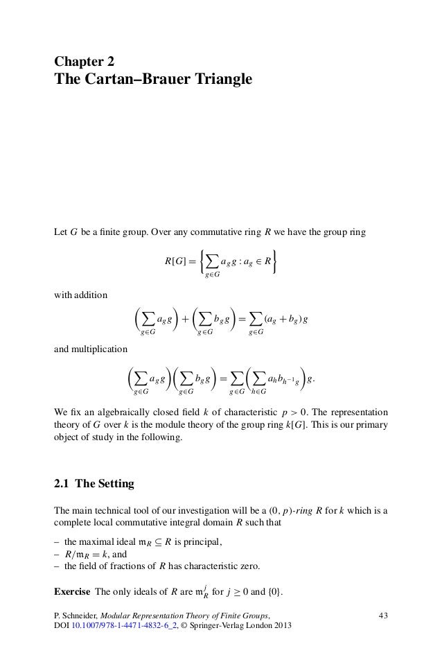 Chapter 2The Cartan–Brauer TriangleLet G be a finite group. Over any commutative ring R we have the group ring             ...