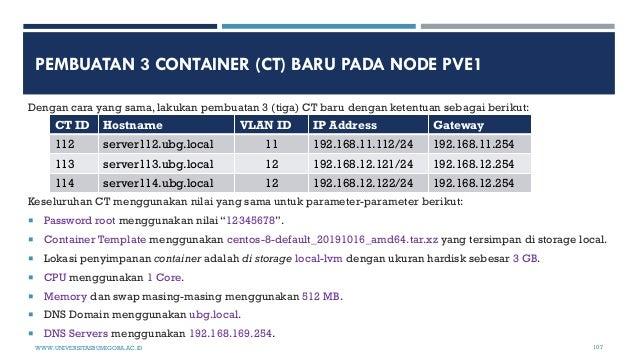 PEMBUATAN 3 CONTAINER (CT) BARU PADA NODE PVE1 Dengan cara yang sama, lakukan pembuatan 3 (tiga) CT baru dengan ketentuan ...