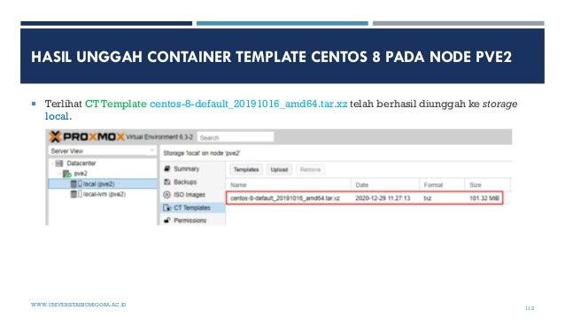 HASIL UNGGAH CONTAINER TEMPLATE CENTOS 8 PADA NODE PVE2  Terlihat CT Template centos-8-default_20191016_amd64.tar.xz tela...