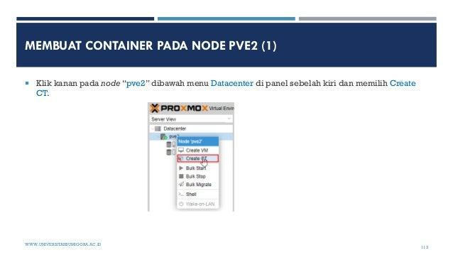 """MEMBUAT CONTAINER PADA NODE PVE2 (1)  Klik kanan pada node """"pve2"""" dibawah menu Datacenter di panel sebelah kiri dan memil..."""