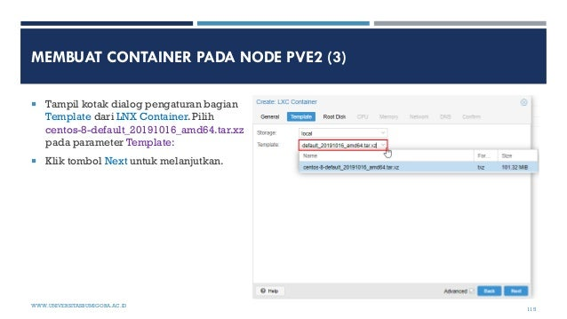 MEMBUAT CONTAINER PADA NODE PVE2 (3)  Tampil kotak dialog pengaturan bagian Template dari LNX Container. Pilih centos-8-d...