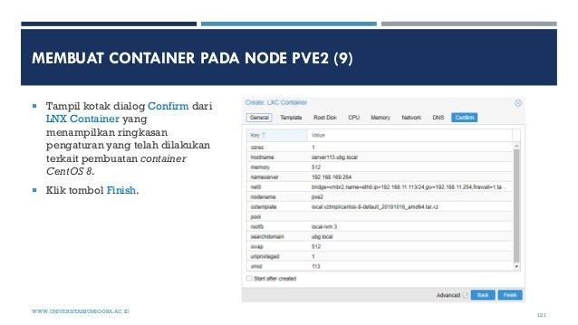 MEMBUAT CONTAINER PADA NODE PVE2 (9)  Tampil kotak dialog Confirm dari LNX Container yang menampilkan ringkasan pengatura...